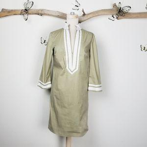 Tory Burch caftan tunic shirtdress tan and white